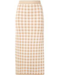 Altuzarra Billie Checked Knit Skirt - Brown