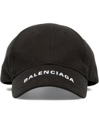 afffa58df71 Balenciaga - Black Logo Embroidered Cotton Cap - Lyst