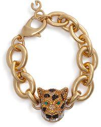 Dolce & Gabbana Crystal pavé leopard bracelet - Métallisé