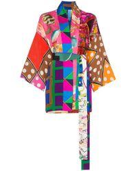 Rianna + Nina - Short Multi Fish Polka Dot Print Silk Kimono Robe - Lyst