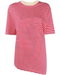 Marni Camiseta asimétrica a rayas - Rojo