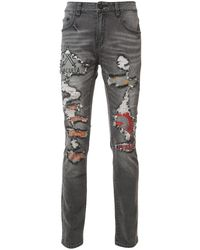 Haculla Distressed Slim-fit Jeans - Gray