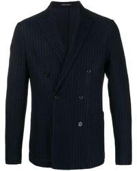 Emporio Armani Striped Double-breasted Blazer - Blue