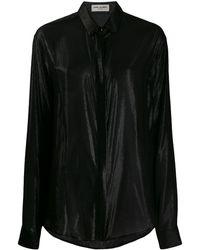 Saint Laurent メタリック シャツ - ブラック