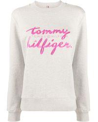 Tommy Hilfiger Sweater Met Logoprint - Grijs