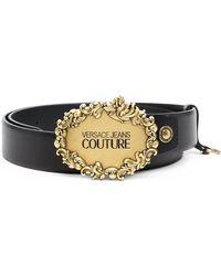 Versace Jeans Couture バックル レザーベルト - ブラック