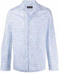 Dell'Oglio Рубашка С Цветочным Принтом - Синий