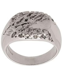 Maria Black Rock Signet Ring - Metallic