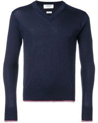 Thom Browne カシミア Vネックセーター - ブルー