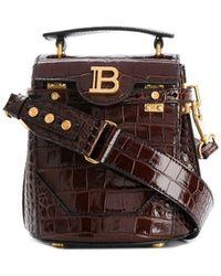 Balmain Crocodile Effect Leather Bucket Bag - Brown