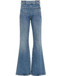 Miu Miu Sailor Fastening Flared Jeans - Blue
