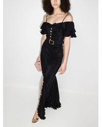 Alessandra Rich オフショルダー シルクドレス - ブラック