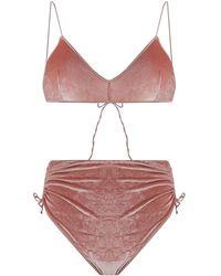 Oséree Bikini à détails froncés - Rose