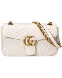 Gucci Стеганая Мини-сумка 'GG Marmont' - Белый