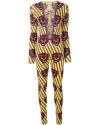 Gucci タイガーフェイス ジャンプスーツ - マルチカラー
