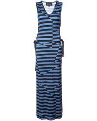 Nicole Miller Illusion Stripe Maxi Dress - ブラック