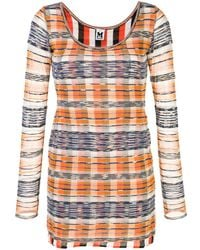 M Missoni Check Print Bodycon Dress - Orange