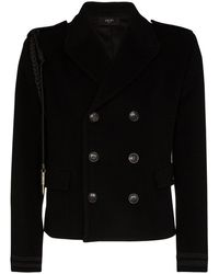 Amiri Rope-trimmed Wool And Cashmere-blend Peacoat - Black