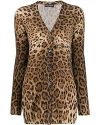 Dolce & Gabbana Leopard Print Cardigan - Brown