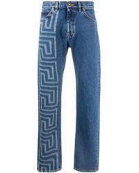 Versace グレカ ストレートジーンズ - ブルー
