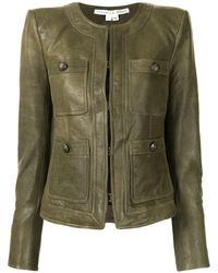 Veronica Beard Fitted Leather Jacket - Green