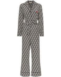 Fendi - Ff Logo Belted Silk Jumpsuit - Lyst