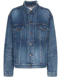 Balenciaga Blue Long Sleeve Logo Print Denim Jacket - Blauw