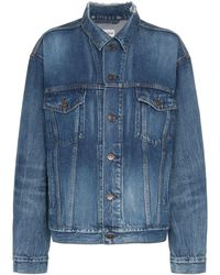 Balenciaga Blue Long Sleeve Logo Print Denim Jacket - Blauw