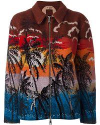 N°21 Palm Print Bomber Jacket - Multicolour