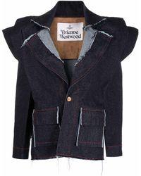 Vivienne Westwood パデッドショルダー シングルジャケット - ブルー