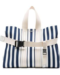 Sunnei Striped Buckle Detail Tote Bag - Blue