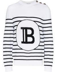Balmain Gestreifter Pullover mit Logo - Weiß