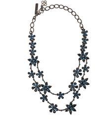 Oscar de la Renta Flower Embellished Necklace - Blue