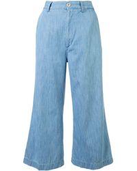 Gucci デニム クロップドパンツ - ブルー