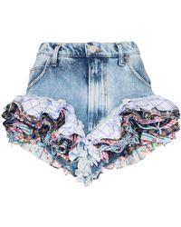 Natasha Zinko Ruffled Hem Shorts - Blue
