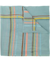 K. Janavi Horizontal Stripes Cashmere Scarf - Blue