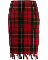 Marine Serre Fitted Check-print Skirt - Red