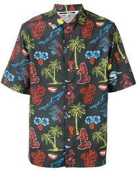 McQ Camisa de manga corta con motivo hawaiano - Negro