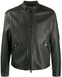 Ermenegildo Zegna Fitted Leather Jacket - Green