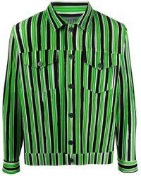 Issey Miyake Textured Striped Shirt - Green