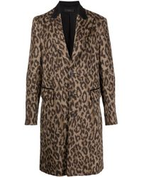Amiri Brushed Leopard Single Breasted Wool Coat - ブラウン