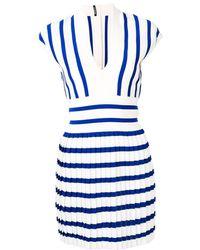 Balmain Robe courte à design plissé - Bleu