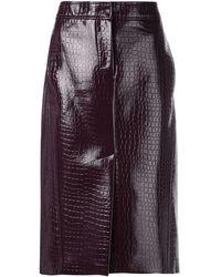 Tibi Crocodile Embossed Skirt - Black