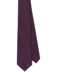 Prada Polka-dot Silk Tie - Purple
