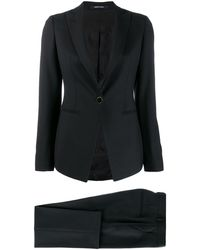 Tagliatore Two-piece Pleat Detail Suit - Black