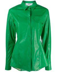 MSGM Рубашка Из Искусственной Кожи - Зеленый