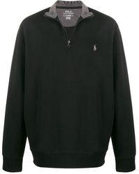 Polo Ralph Lauren Half-zip Logo Embroidered Jumper - Black