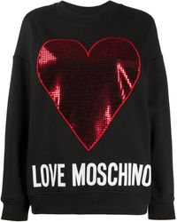 Love Moschino メタリックハート スウェットシャツ - ブラック