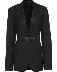 Prada ベルテッド シングルジャケット - ブラック