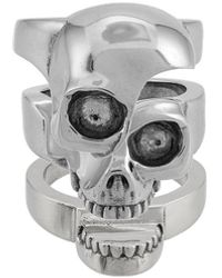 Alexander McQueen Ring Met Gesplitste Schedel - Metallic